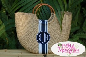 Monogrammed Florida Basket Medium Half Moon Basket image copyright http://thepinkmonogram.com