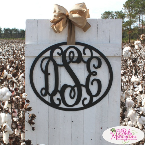 Encircled Metal Three Letter Monogram Wall Hanging For