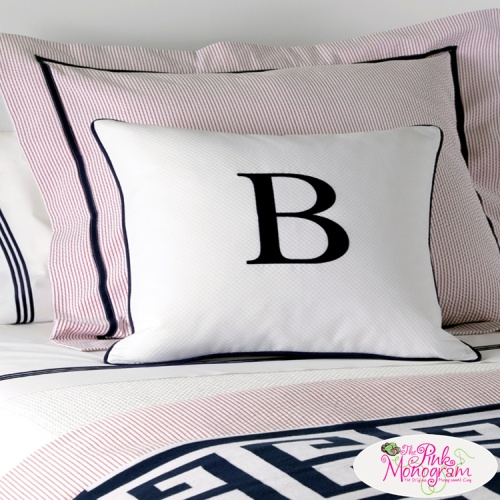 classic monogrammed single letter pillow from matouk the pink monogram