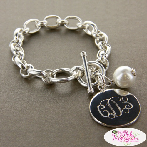 Large Chunky Monogrammed Bracelet With Pearl Charm Http Thepinkmonogram