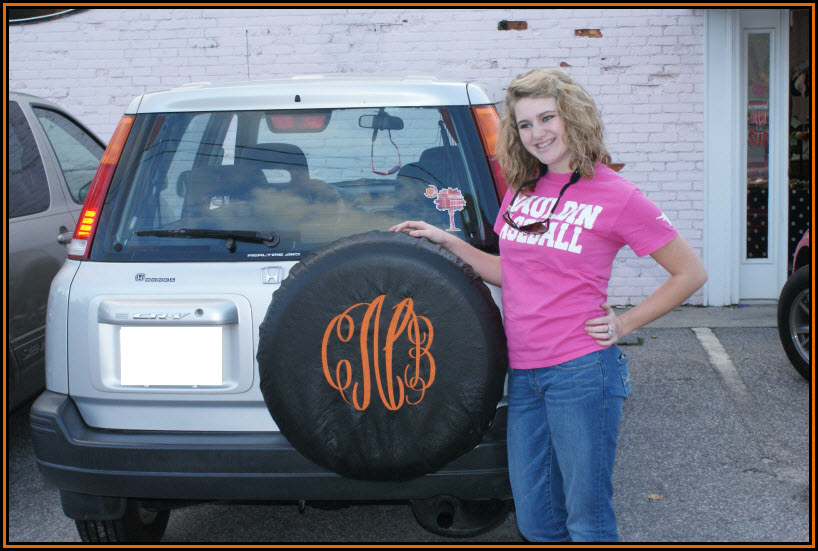 How cute is this? Customers bring us tire covers and we can add a large monogram.