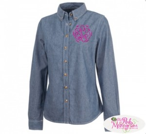 monogrammed chambray button down shirt http://www.thepinkmonogram.com/50330/monogrammed/monogrammed+apparel