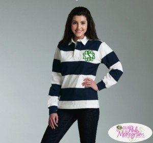 Monogrammed Rugby Shirts http://www.thepinkmonogram.com/50330/monogrammed/monogrammed+apparel