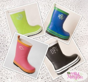 Monogrammed childrens rain boots http://www.thepinkmonogram.com/63349/monogrammed+childrens+rain+boots+in+four+colors/
