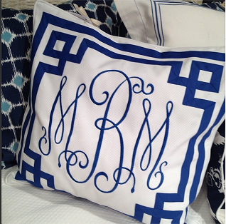 Jane Wilner personalized pillow http://www.thepinkmonogram.com/56502/monogrammed/Bedding%20&%20Linen