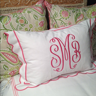 Spring personalized pillows http://www.thepinkmonogram.com/56502/monogrammed/Bedding%20&%20Linen
