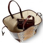 Leather and Canvas Snakeskin Tote in 4 Fabulous Colors