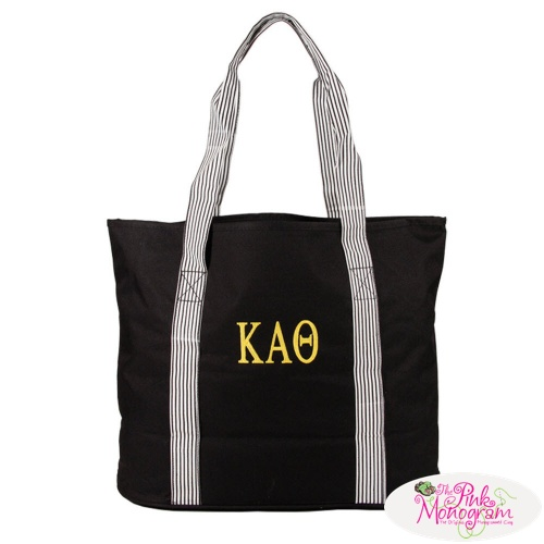 greek monogrammed tote http://www.thepinkmonogram.com/57993/monogrammed/greek-monogrammed-black-striped-handle-tote/