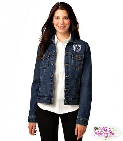 womens denim jean jacket http://www.thepinkmonogram.com/71751/monogrammed/l7620-jean-jacket/