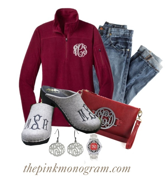 monogram clogs and quarter zip sweater outfit of the day