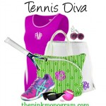 Gorgeous New Canvas Tennis Tote in Green and White