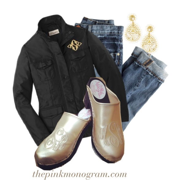 Platinum leather clogs for fall styled with jeans and a jacket