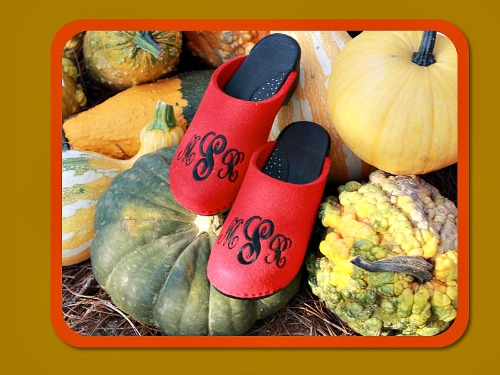 red clogs for fall with a monogram