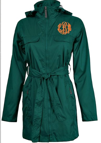 Monogrammed Trench Coat Rain Jacket