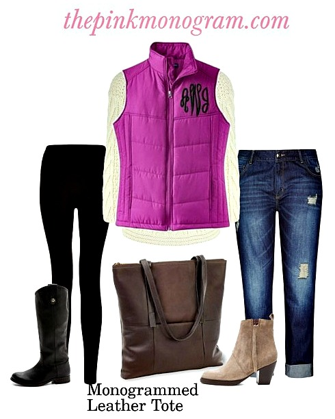 monogrammed vest outfit ootd