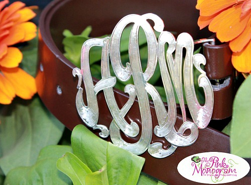 Stunning Hand Cut Monogrammed Belt Buckle: Exclusive To The Pink Monogram