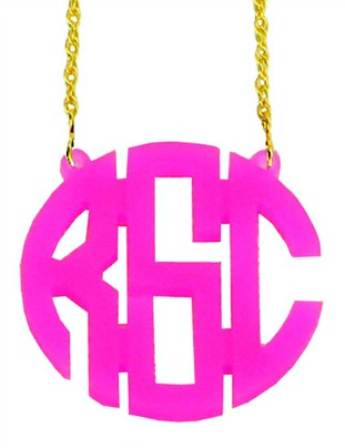 Acrylic Monogram Necklace in Pink