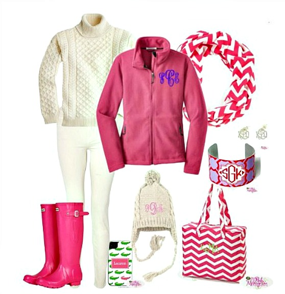 wINTER wEAR JACKETS AND SCARVES IN PINK AND WHITE