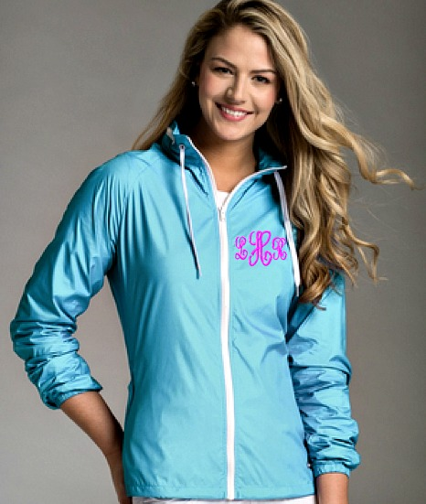 Aqua Rain Jacket with Monogram