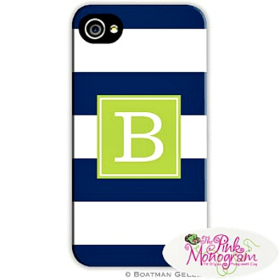 Blue and White Awning Stripe Cell Phone Case