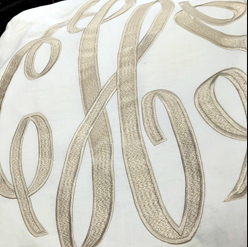 Custom monogram with fill stitch and satin outline by ThePinkMonogram