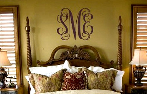 Fancy Interlocking Script Monogram Wall Decal