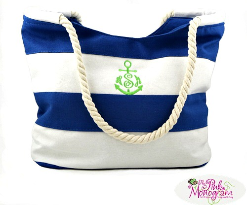 Monogrammed Blue Nautical Striped Canvas Beach Tote
