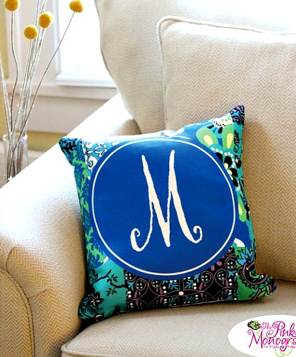 Monogrammed Canvas Pillow-choose from 100 patterns