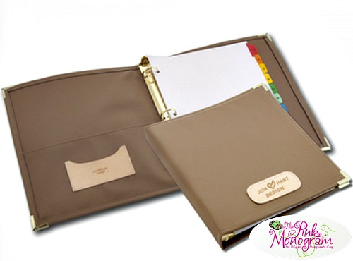 Monogrammed Canvas And Leather 3 Ring Binder