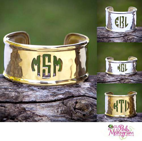 Trendy Fall Fashion Accessories - Gold or Silver Cut Out Monogram Cuff Bracelets