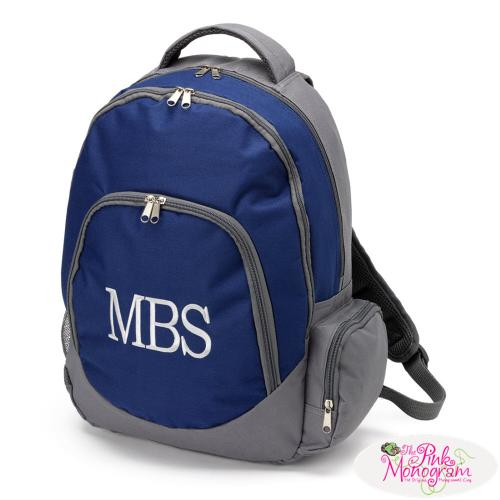 Monogrammed+Navy+and+Gray+Backpack+with+Tablet+Compartment
