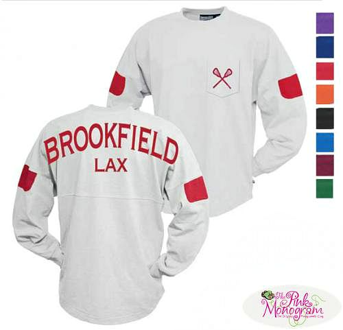 Monogrammed+White+Board+Crew+with+Contrasting+Sleeve+Tab