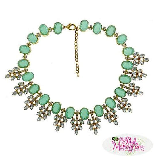 Trendy Fall Fashion Accessories - Serena Necklace in Aqua Stones and Crystals
