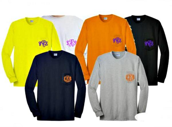 5 Spring Fashion Monogram Ideas long sleeve cotton tshirt