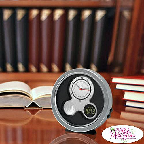 College Graduation Gift Ideas -Monogrammed Modern Style Round Desk clock