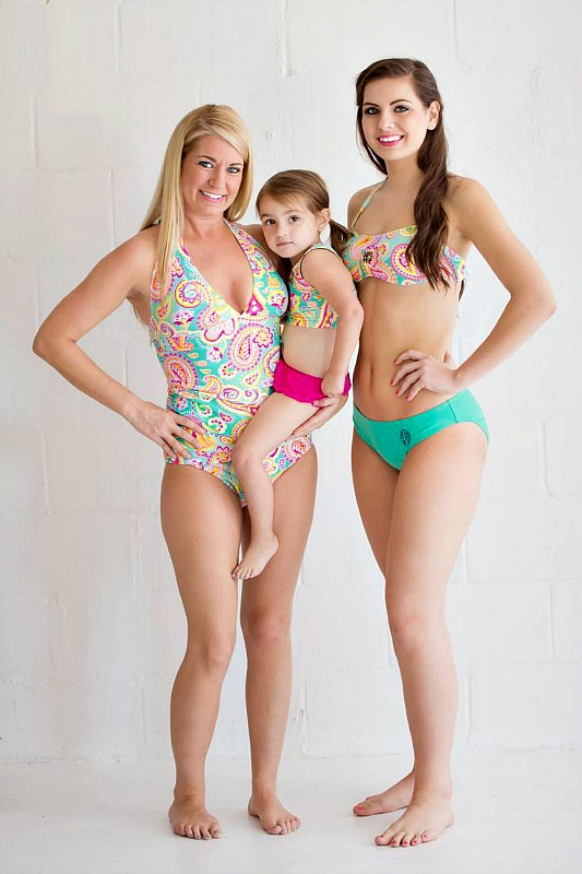 Ready for The Sun: Monogrammed Swim Suits for Ladies and Kids - mother daughter matching suits