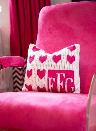 Decorating a Little Girl's Room in Shades of Pink - knit pillow in pink