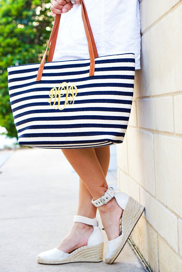 Navy and White Stripe Tote Featured on DawnPDarnell