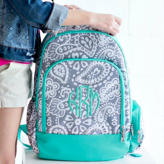 Gray Paisley Pattern Backpack | thepinkmonogram.com