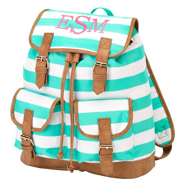 Mint and White Stripe Backpack | thepinkmonogram.com