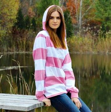 Top 5 Preppy Fashion Pieces for Stylish College Women - pink rugby hooded pulloever | thepinkmonogram.com