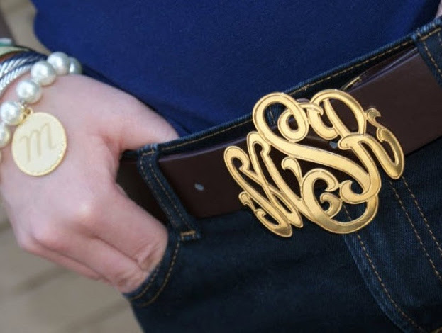 Gold Accessories for the Win - Custom Gold Belt Buckle with Monogram