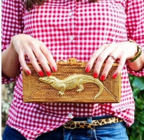 Gold Accessories for the Win - Gator Basket Clutch in Natural or Black