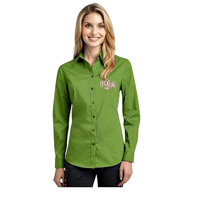5 Hot Campus Fashions for Fall Ladies Poplin Shirt w. monogram | thepinkmonogram.com
