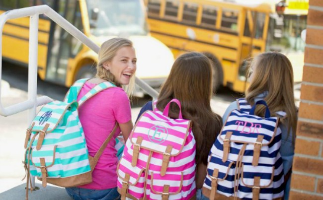 Campus Essentials for Back to School - Monogrammed Campus Hot Pink Striped Backpack