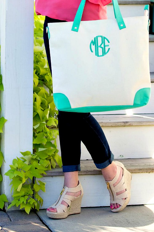 Campus Essentials for Back to School - Monogrammed Canvas Shoulder Bag With Mint Green Trim