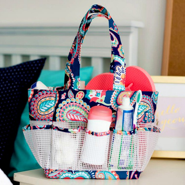 Campus Essentials for Back to School - Monogrammed Emerson Paisley Shower Caddy